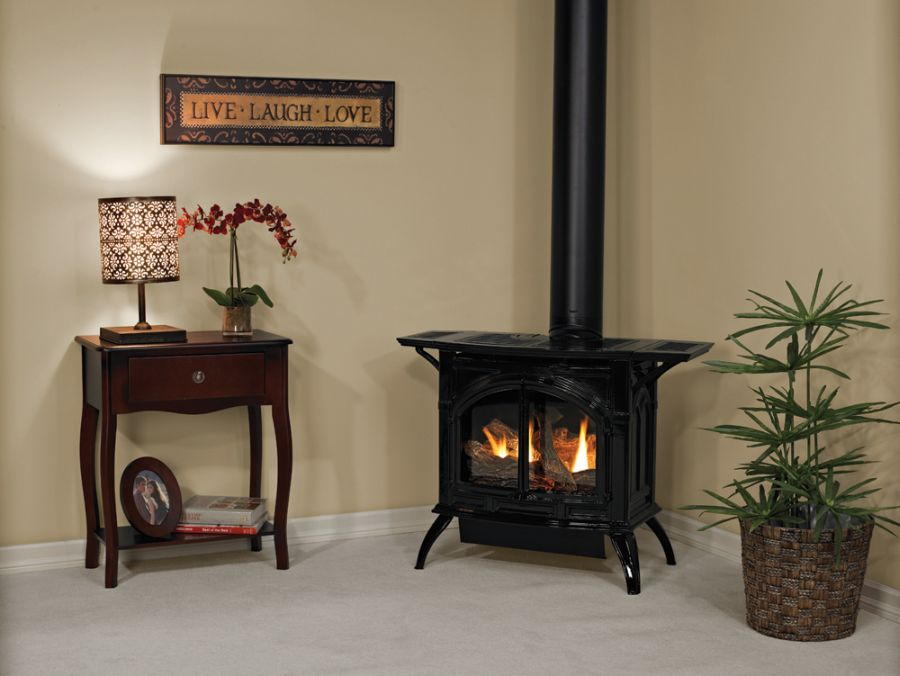 Click here to buy Heritage Cast Iron Porcelain Black Stove DVP20CC70BP Liquid Propane.