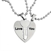 I Love You Couples BFF 3PC Puzzle Heart Interlocking Key Pendant Necklace For Women For Teen Stainless Steel
