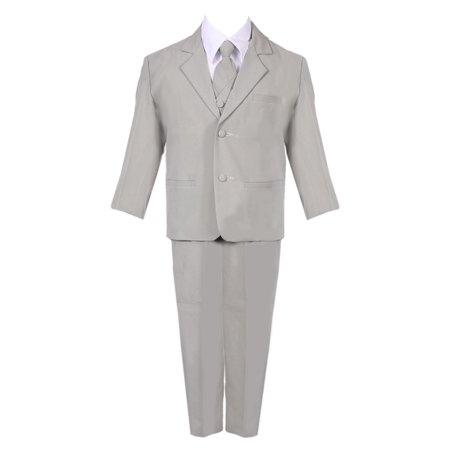 Boys Silver 5 Piece Classic Vest Jacket Pants Special Occasion Suit](Cheap Boys Suit Jacket)