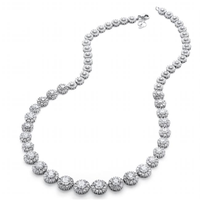 Palm Beach Jewelry 56137 15.63 TCW Round Cubic Zirconia Graduated Halo Necklace, Platinum Over Sterling Silver by PalmBeach Jewelry