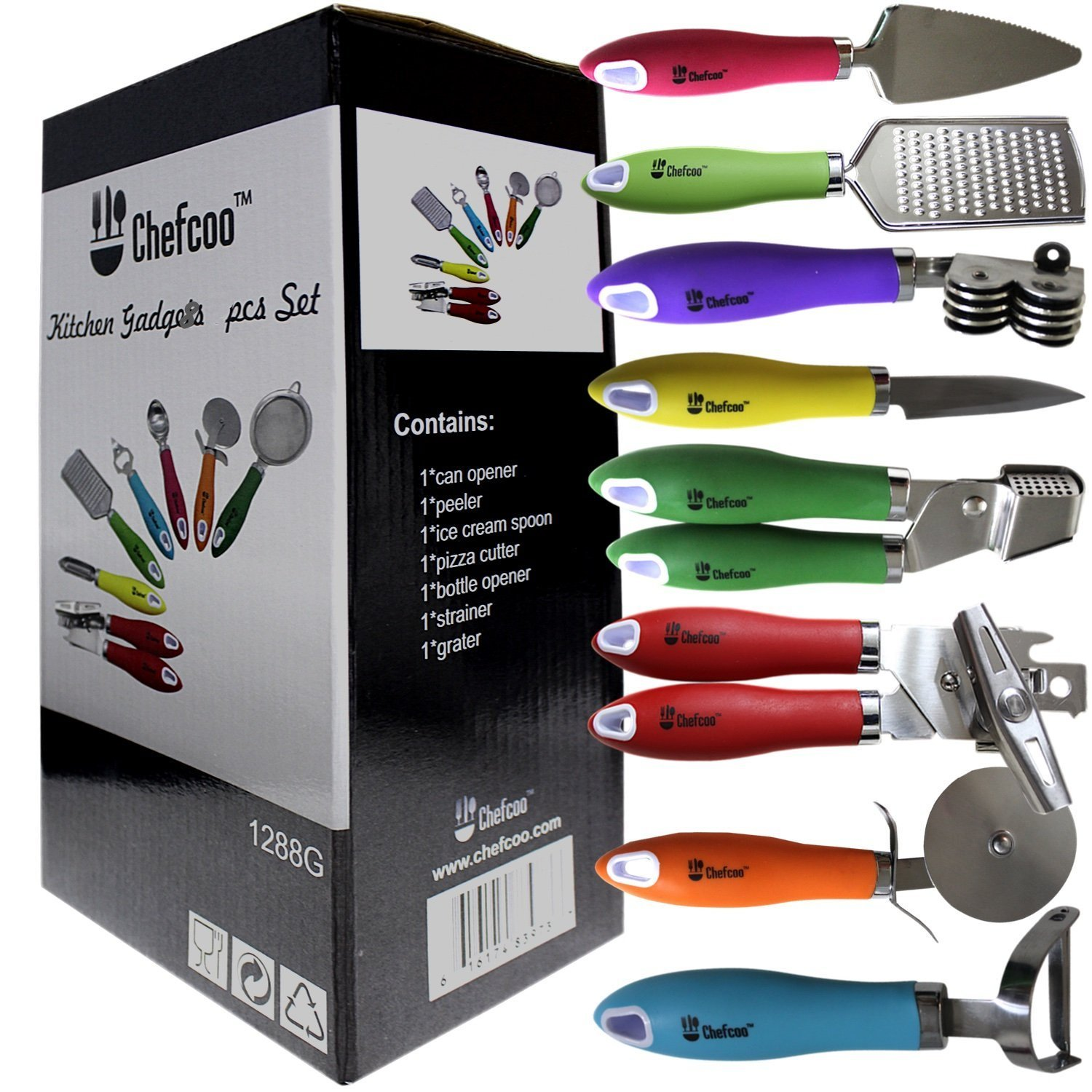 "8 Pieces Kitchen Gadget Tools Set by Chefcooâ""¢ - Stainless-Steel Utensils Chef Cooking Set - Peeler, Knife, Pie Server, Can Opener, Pizza Cutter, Grater, Knife Sharpener & Garlic Press"