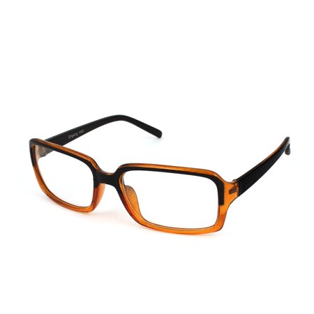 Lady Brown Plastic Arms Full Rims Clear Lens Plain Eyeglasses (Spectacle Frame Sizes)