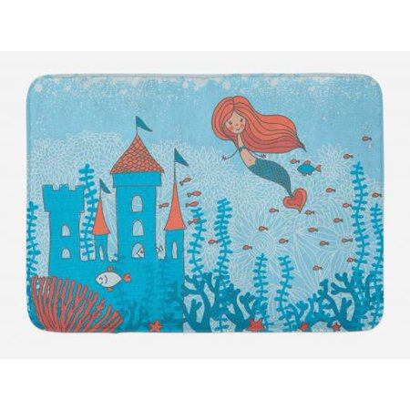 Mermaid Bath Mat Art Of Little Mermaid Under The Sea In Corals With Castle And Little Fish Print Non Slip Plush Mat Bathroom Kitchen Laundry Room