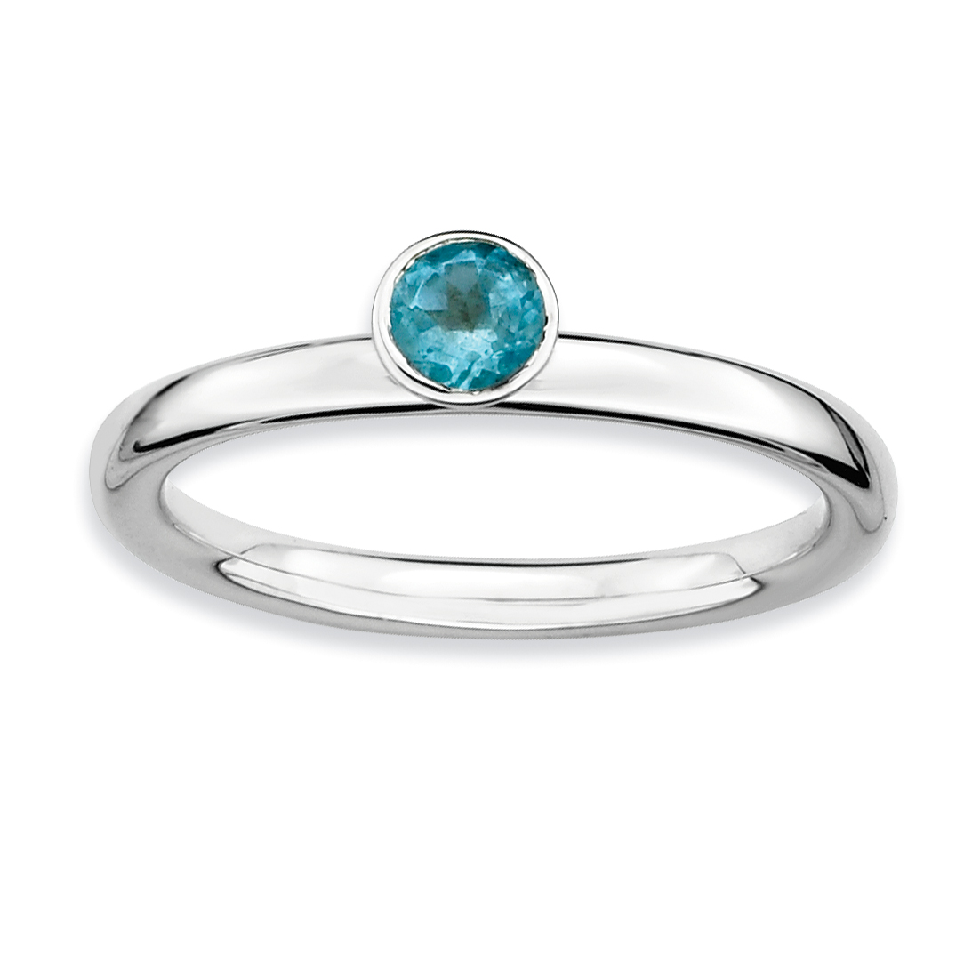 925 Sterling Silver High 4mm Round Blue Topaz Band Ring Size 9.00 Stone Stackable Gemstone Birthstone December Fine Jewelry Gifts For Women For Her - image 4 de 4