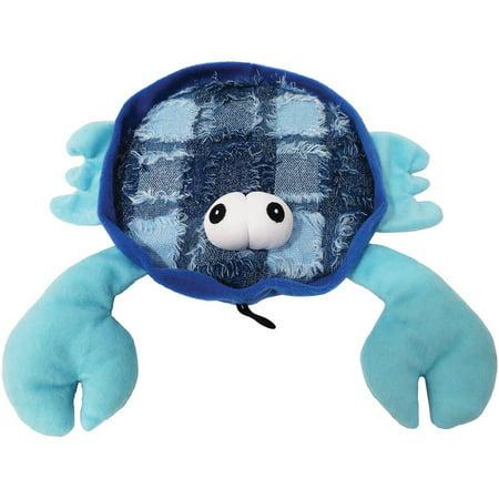 """Plush Blue Claw Crab Dog Toy, 10.5"""""""