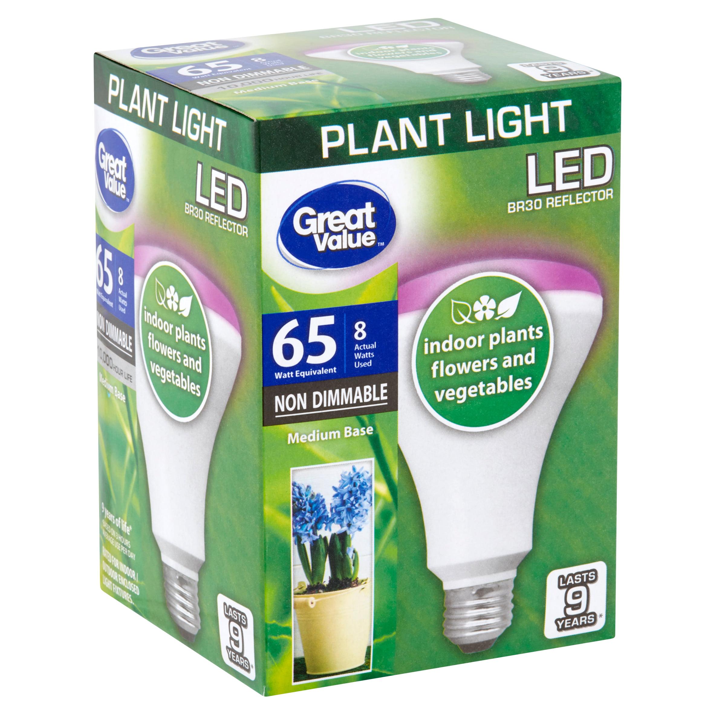 Great Value Led Light Bulb 8w 65w Equivalent Br30 Grow Light