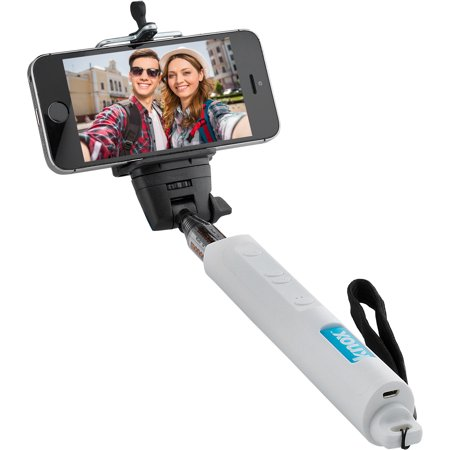 knox monopod selfie stick with bluetooth remote and zoom function white w. Black Bedroom Furniture Sets. Home Design Ideas