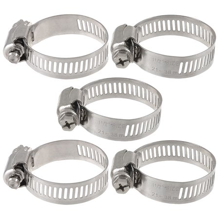 Release Worm (Unique Bargains 5 Pieces Bolt Release 21mm to 38mm Worm Drive Hose Clamps Pipe Hoops)