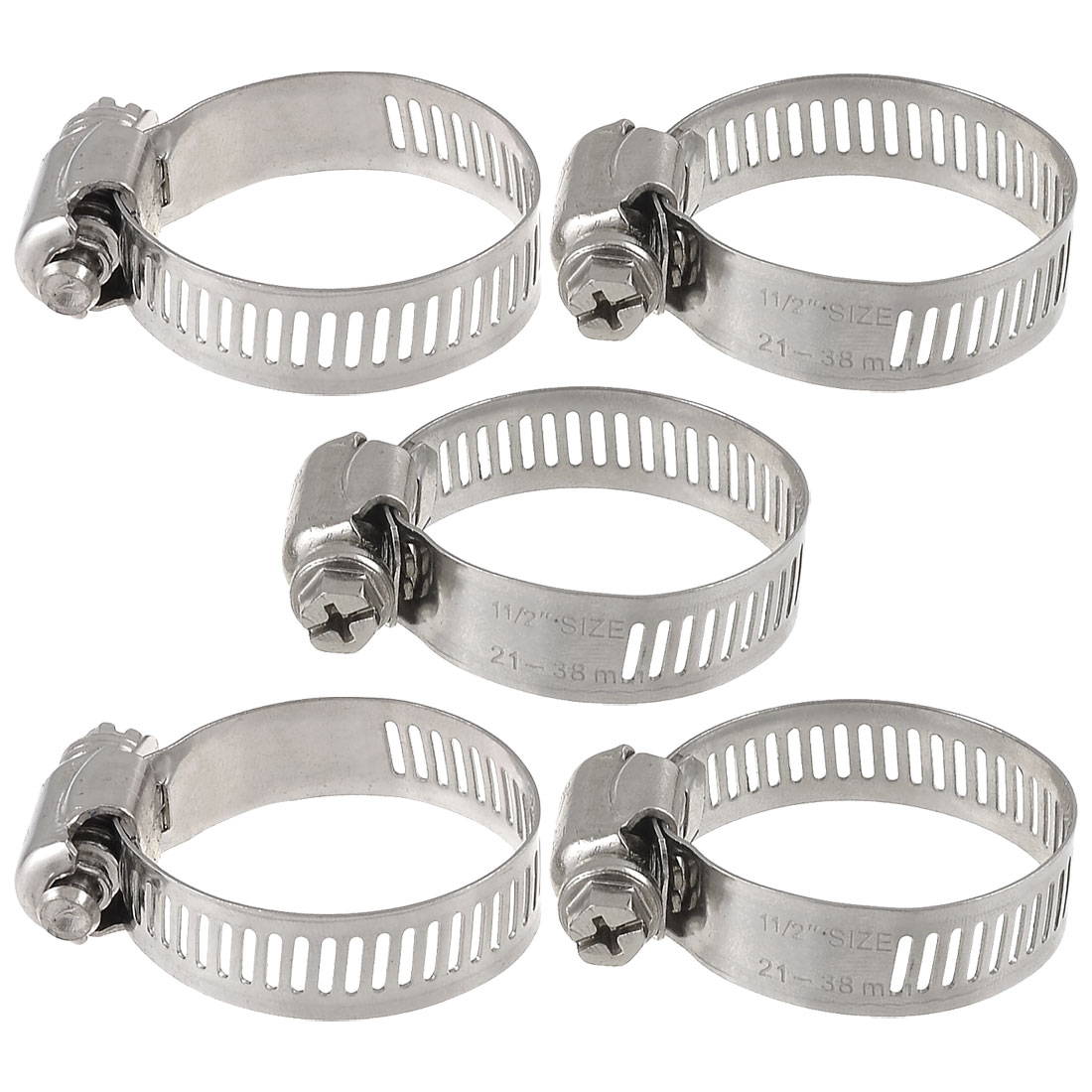 Unique Bargains 5 Pieces Bolt Release 21mm to 38mm Worm Drive Hose Clamps Pipe Hoops