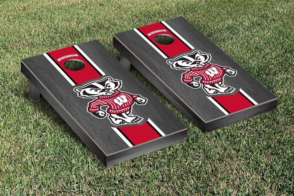 Wisconsin Badgers Cornhole Game Set Onyx Stained Stripe Version by Victory Tailgate