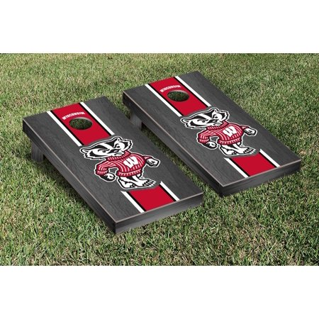 Wisconsin Badgers Cornhole Game Set Onyx Stained Stripe Version