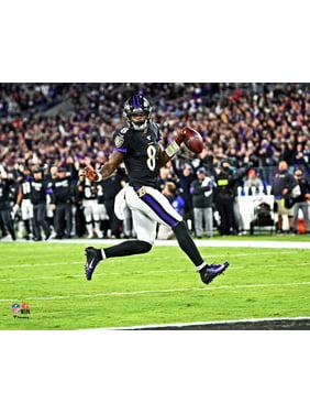 Lamar Jackson Baltimore Ravens Unsigned Horizontal High Stepping Touchdown Celebration Photograph