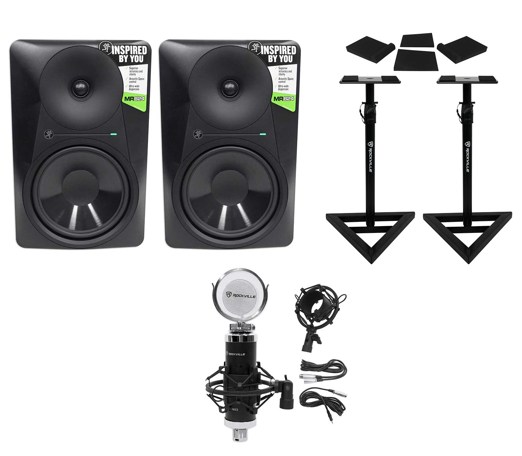 (2) Mackie MR824 8� 85 Watt Powered Studio Monitors+Condenser Mic+Stands+Pads by Mackie