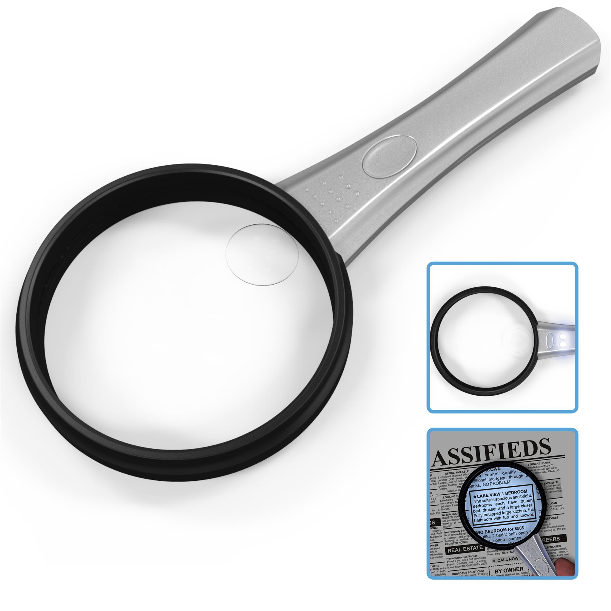 MagniPros 2X Handheld Magnifying Glass with 2 Ultra Bright LED Lights Reading Magnifier with 4X Spot Lens Ideal for Small Prints, Maps, Macular Degeneration