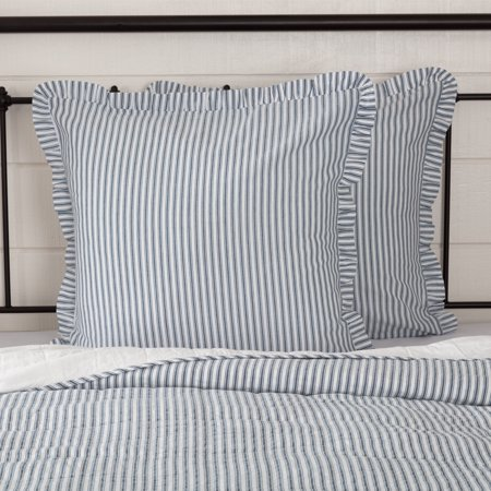 Denim Blue Farmhouse Bedding Miller Farm Ticking Stripe Cotton Striped Euro Sham ()