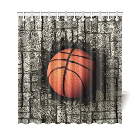 GCKG Basketball Sports Shower Curtain, Grey Brick Wall Polyester Fabric Shower Curtain Bathroom Sets with Hooks 66x72 Inches - image 3 de 3