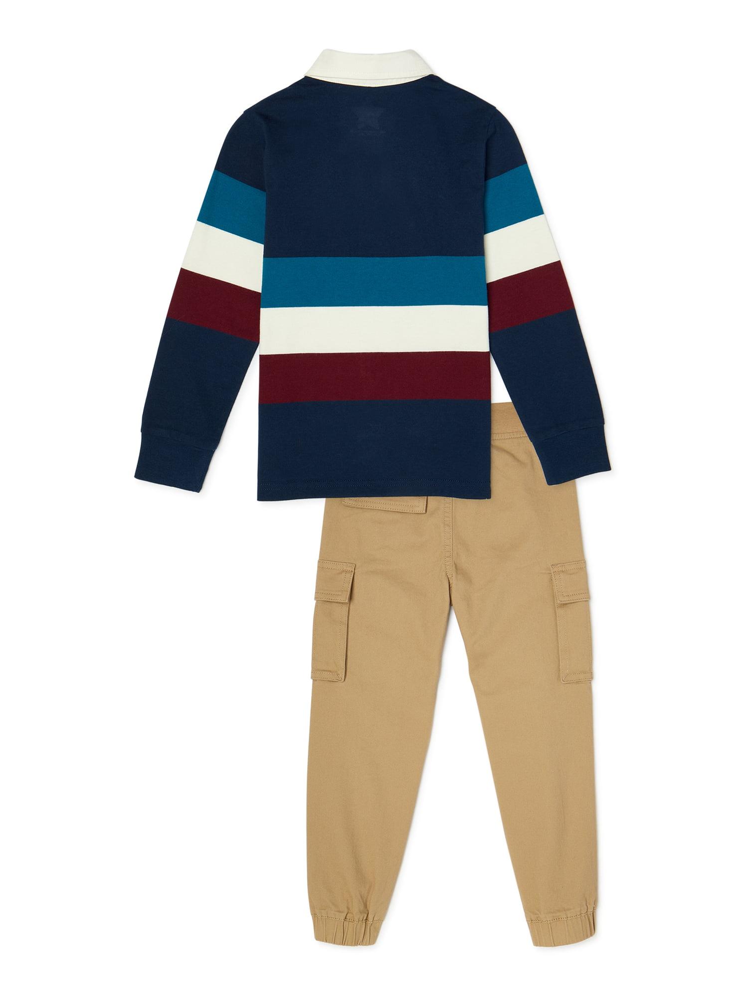 365 Kids From Garanimals 365 Kids From Garanimals Boys Striped Rugby Polo Shirt Cargo Jogger Pants 2 Piece Outfit Set Sizes 4 10 Walmart Com Walmart Com