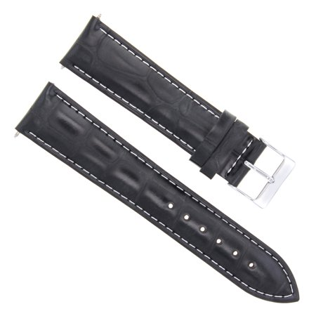 19MM ITALIAN LEATHER WATCH STRAP BAND FOR BREITLING PILOT WATCH BLACK WHITE STIT Breitling Pilot Watch