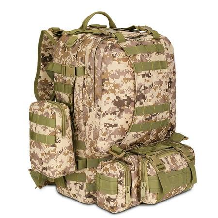 Rucksack System (3-in-1 Tactical Backpack (Desert Camo) 55L Large Army Assault Pack w/ Detachable Shoulder Messenger Bag 2 Side Packs, MOLLE Gear Attachment System, Bug-out Bag Daypack Rucksack for Outdoor Hiking)