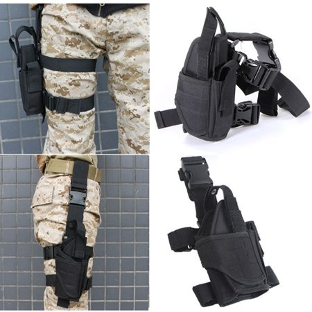 Swat Tactical Drop Leg - Tactical Army Black Pistol Gun Drop Leg Thigh Holster Pouch Adjustable Holder, Black