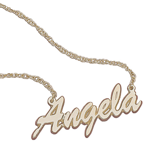 Personalized Women's 10K Gold Script Name Necklace, 18""