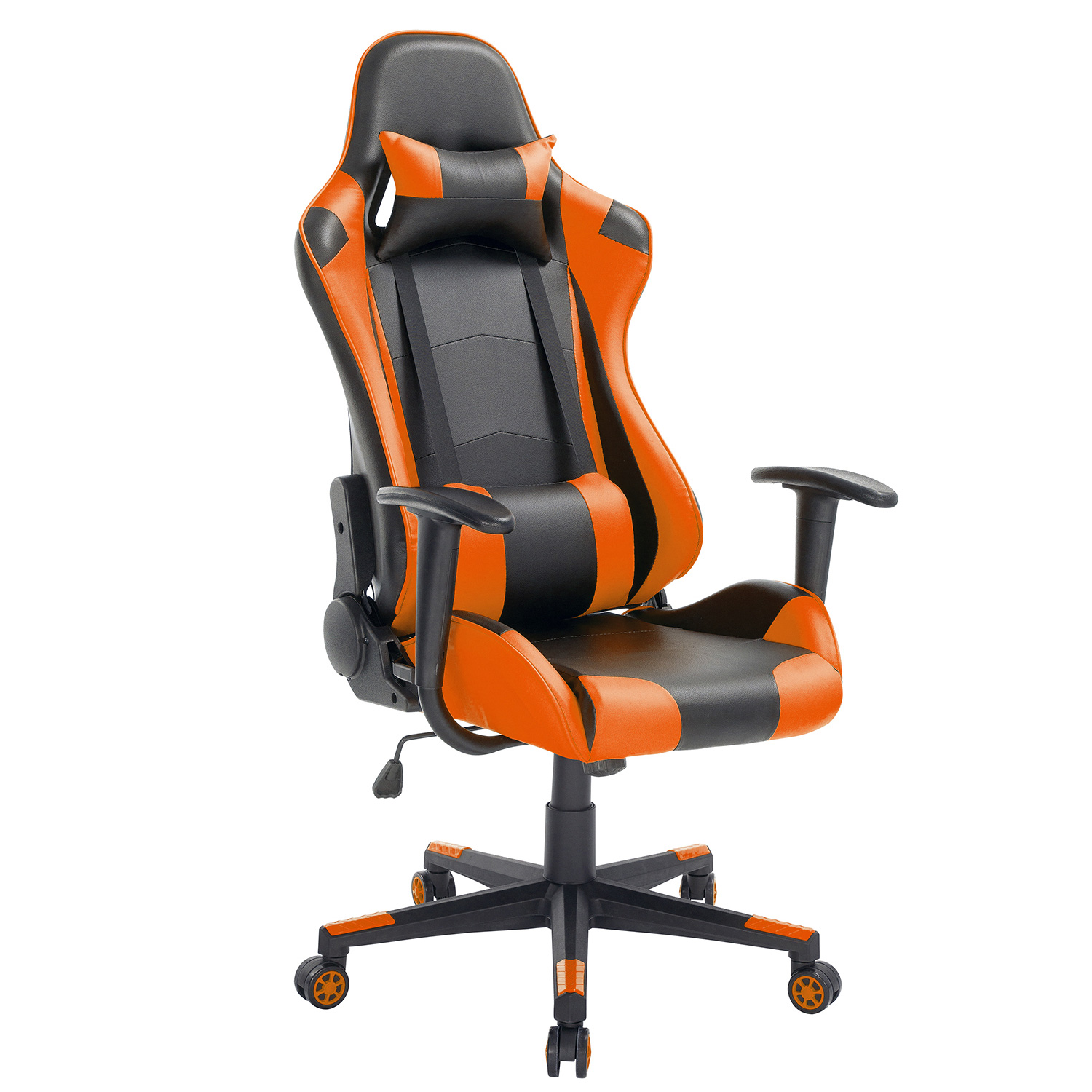 High-Back Swivel Gaming Chair Black & Orange With Lumbar Support & Headrest | Racing Style Ergonomic Office Desk Chair by Modern-depo