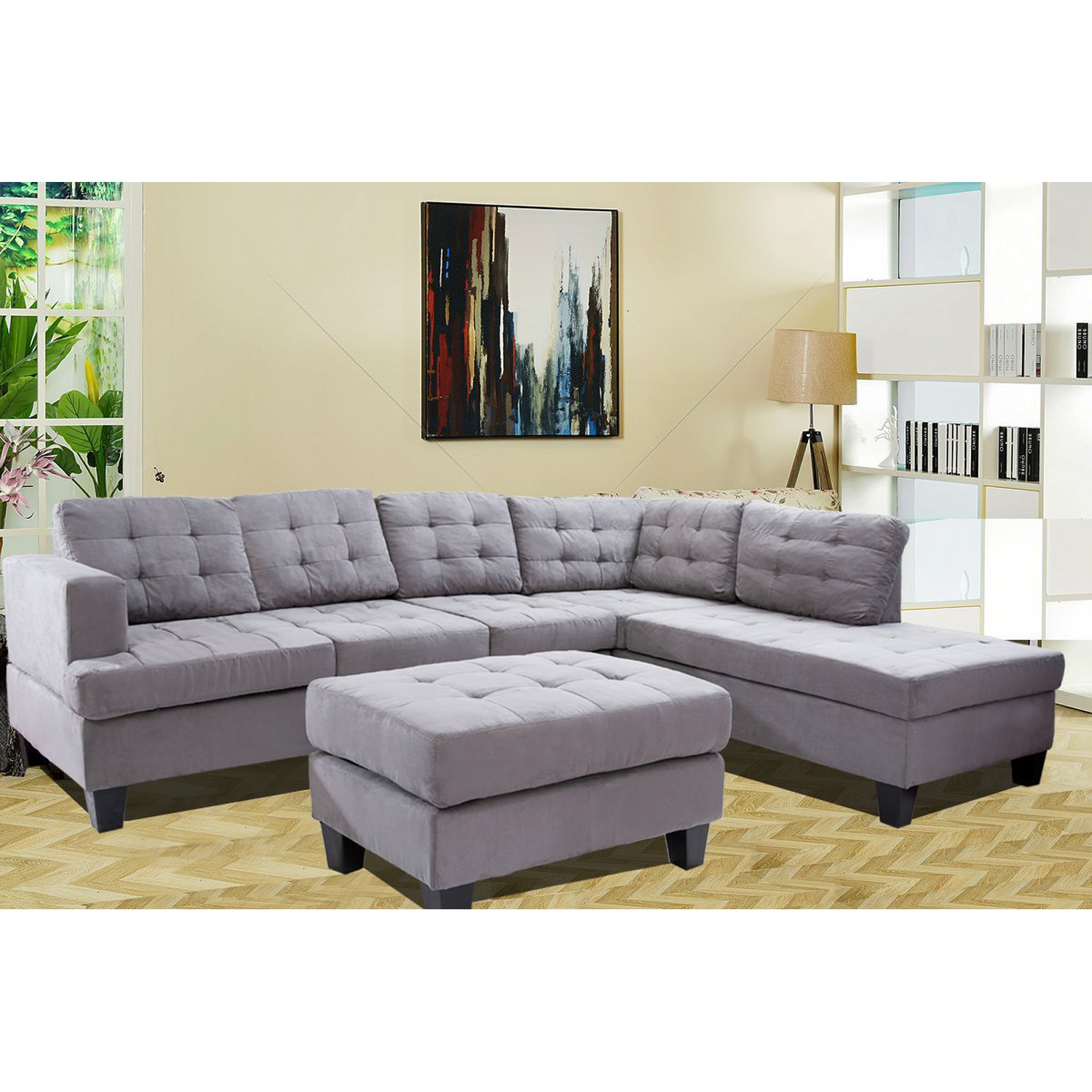 Merax 3 Piece Sectional Sofa With Chaise And Ottoman, Grey