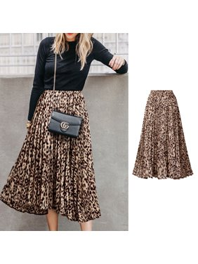 75a3609d8 Product Image Summer Women Fashion Leopard Printing A-Line Long Pleated  Skirt yellow XL
