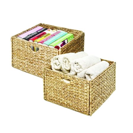 Hyacinth Pack - Seville Classics Hand-Woven Water Hyacinth Storage Baskets, 2-Pack