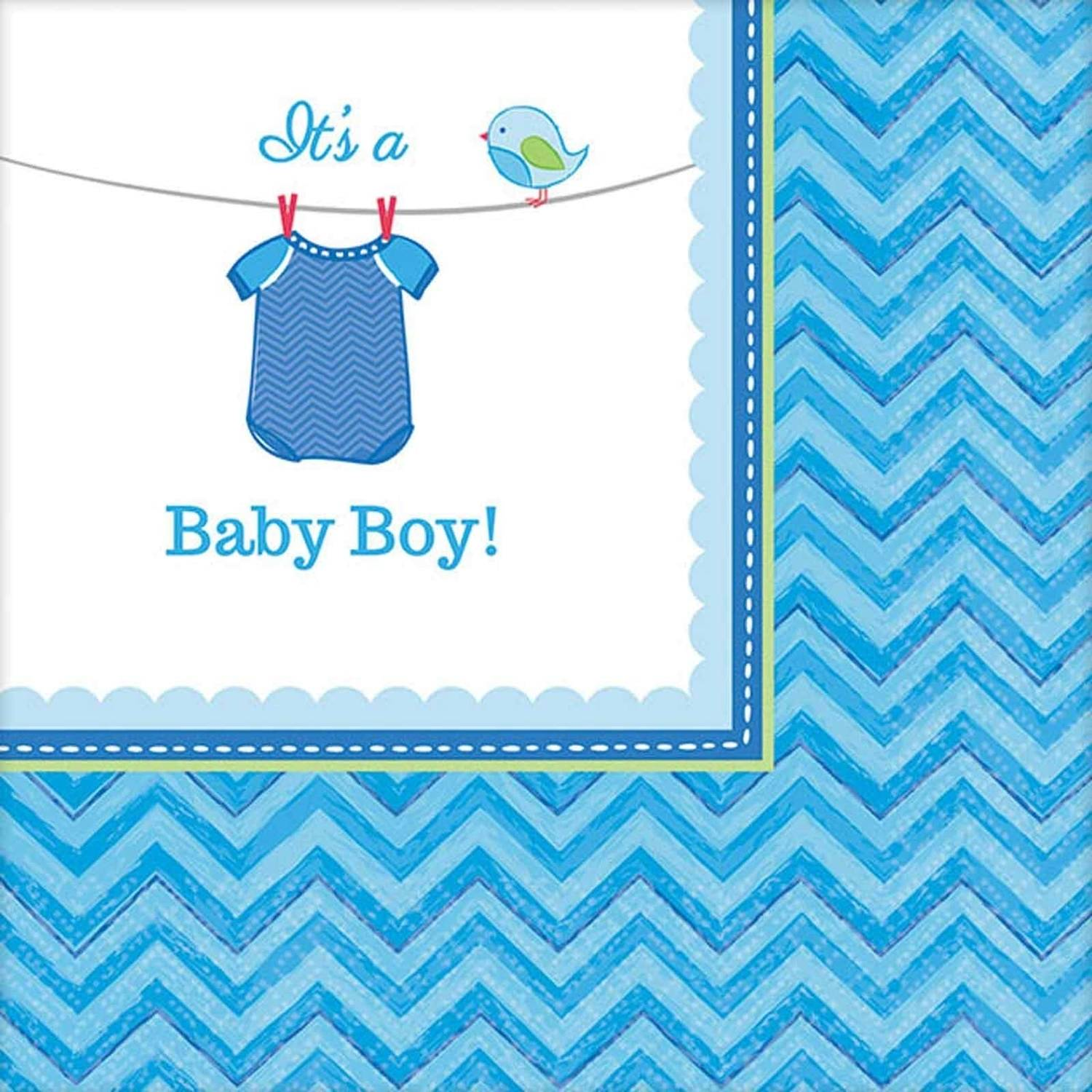 Baby Shower Boy Shower with Love Beverage Napkins, Pack of 16