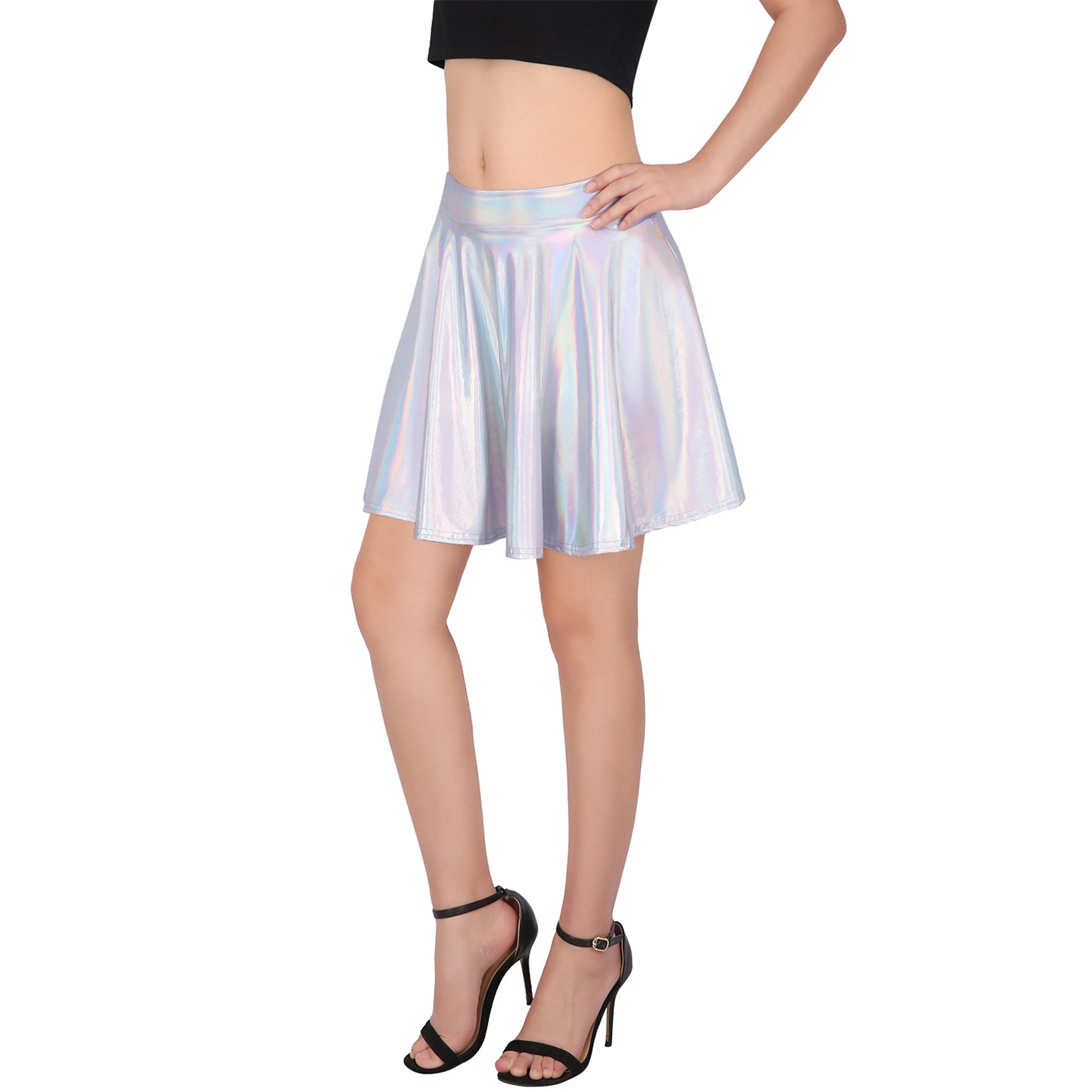 b05eb1805d712 HDE Women's Shiny Liquid Metallic Holographic Pleated Flared Mini Skater  Skirt (Gold, XX-Large) | Walmart Canada ?