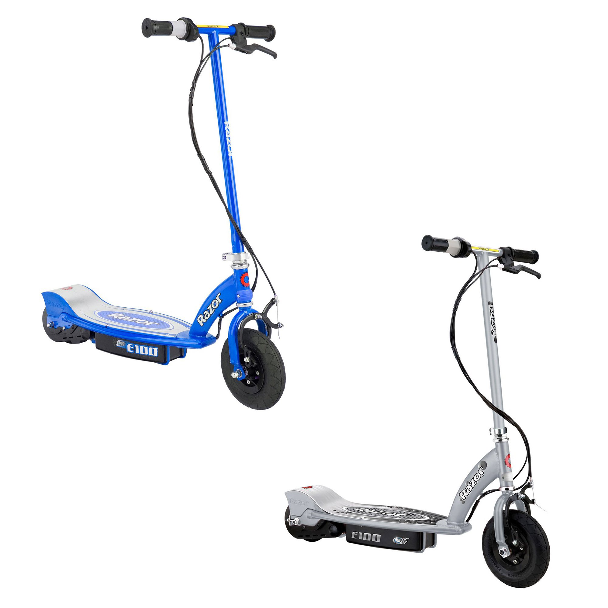 Razor E100 Motorized Rechargeable Kids Toy Electric Scooters, 1 Silver & 1 Blue