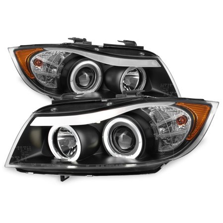 Bmw 3 Series Led (Fit 2006-2008 BMW E90 3-Series 4Door Black Halo LED Projector Eye LId Headlights )