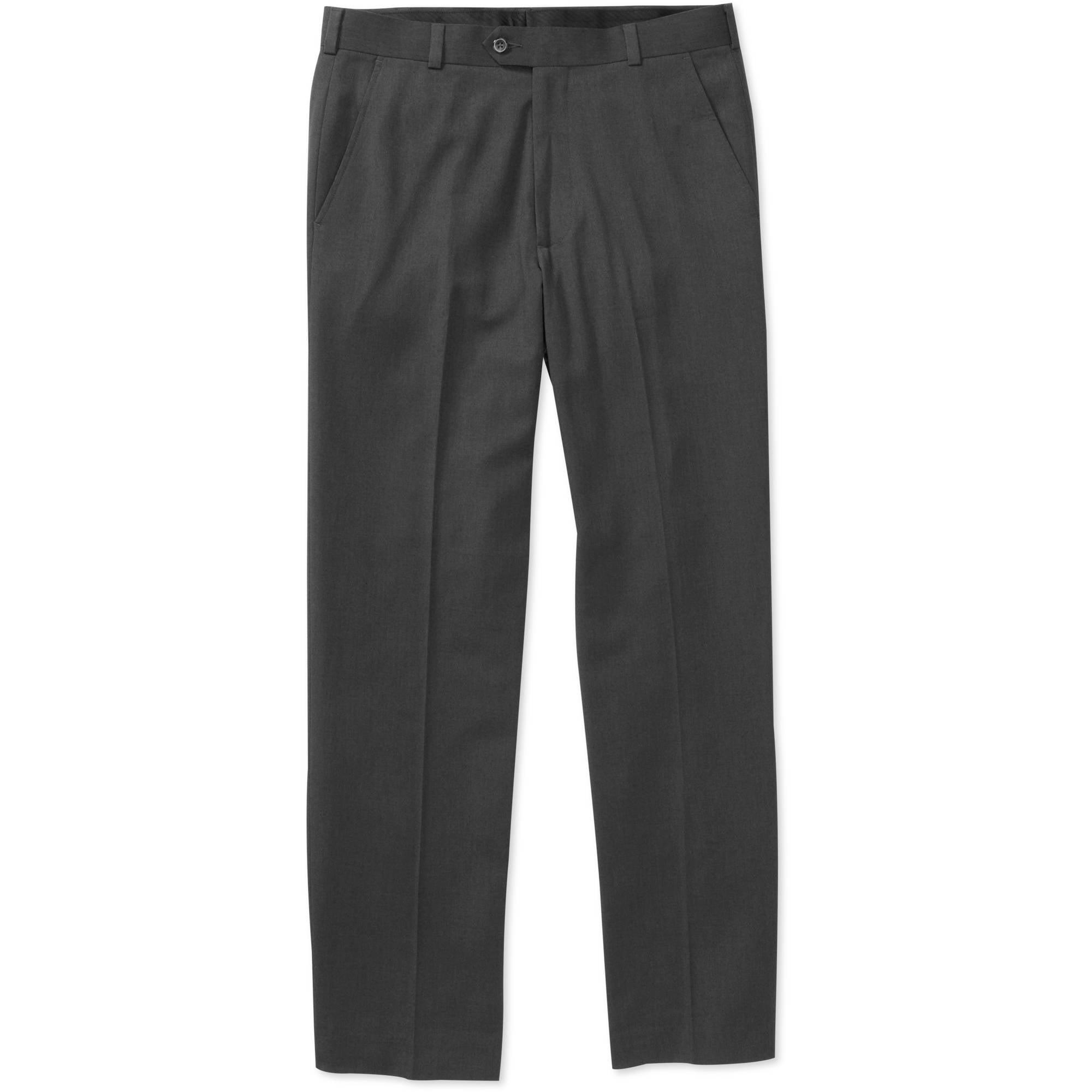 George Dress Pants Mens Size 34 x 34 Flat Front Wrinkle Resistant Polyester Black