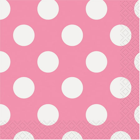 Polka Dot Paper Beverage Napkins, Pink, 16ct