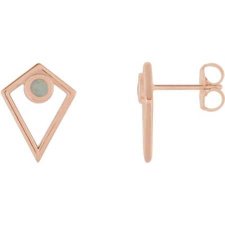 14K Rose Gold Opal Cabochon Pyramid Earrings Gemstone Fashion Finished (Pair) Cabochon Designer Earrings