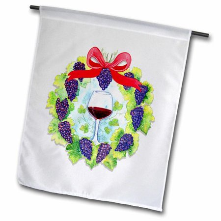 Image of 3dRose Wine Grapes Wreath Surrounds a Glass of Wine Polyester 1'6'' x 1' Garden Flag