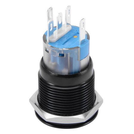 19mm Stainless Steel Yellow 220V LED Power Momentary Switch Push Button IP67 - image 2 de 5