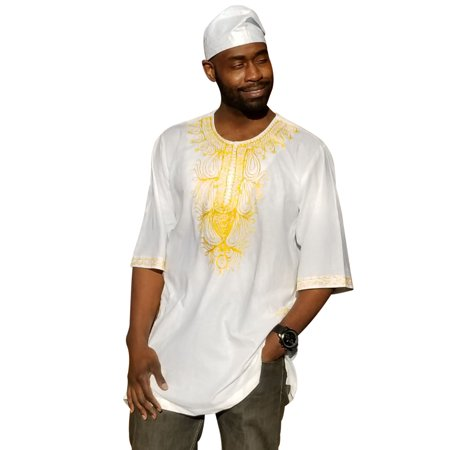 - Off-White African Dashiki Shirt with Golden Orange Embroidery