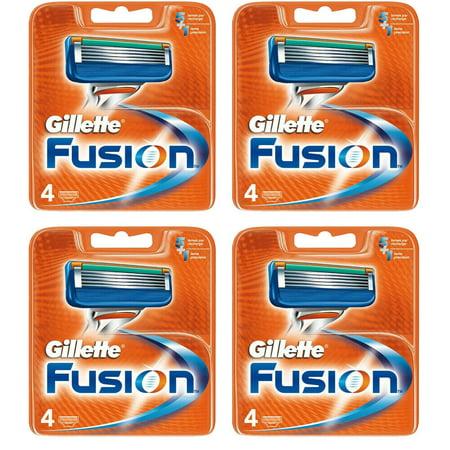 16 Gillette Fusion Refill Razor Blade Cartridges (4 pks of 4)