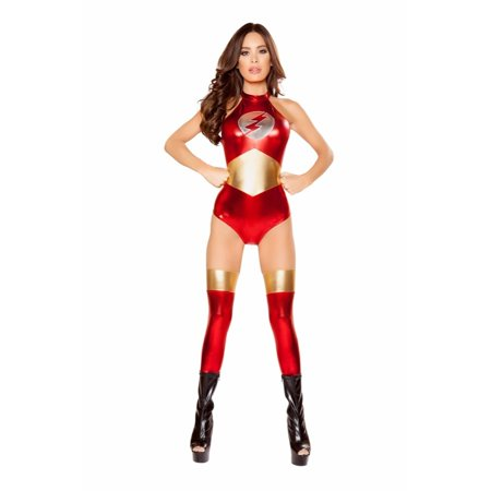 Roma Costume Halloween Party 1 Piece Speedster Vixen - Red/Gold/Silver](Vixen Costume)