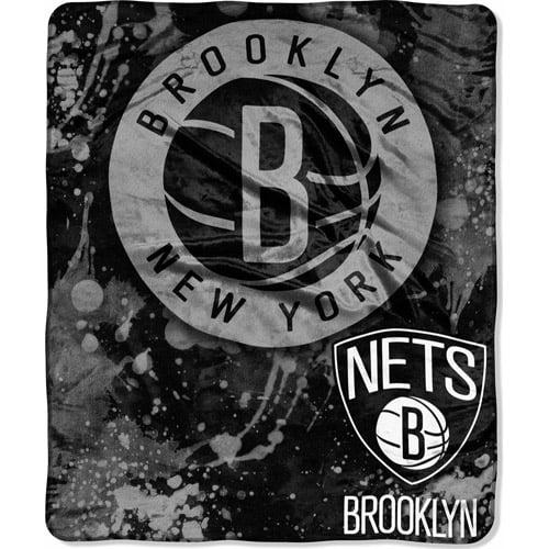 "NBA Dropdown 50"" x 60"" Royal Plush Raschel Throw, Brooklyn Nets"
