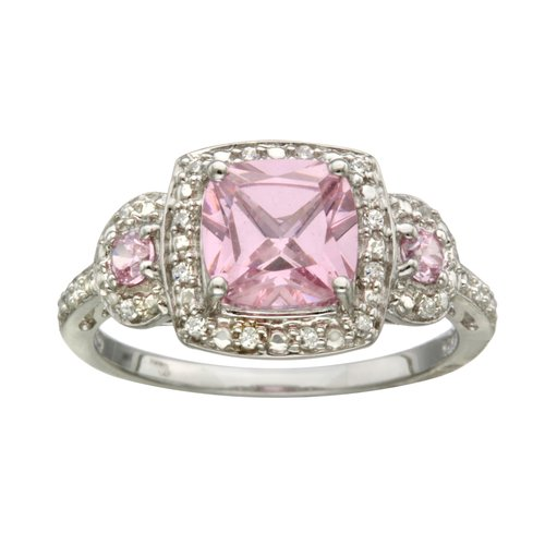 sterling silver pink white cz fashion ring walmart