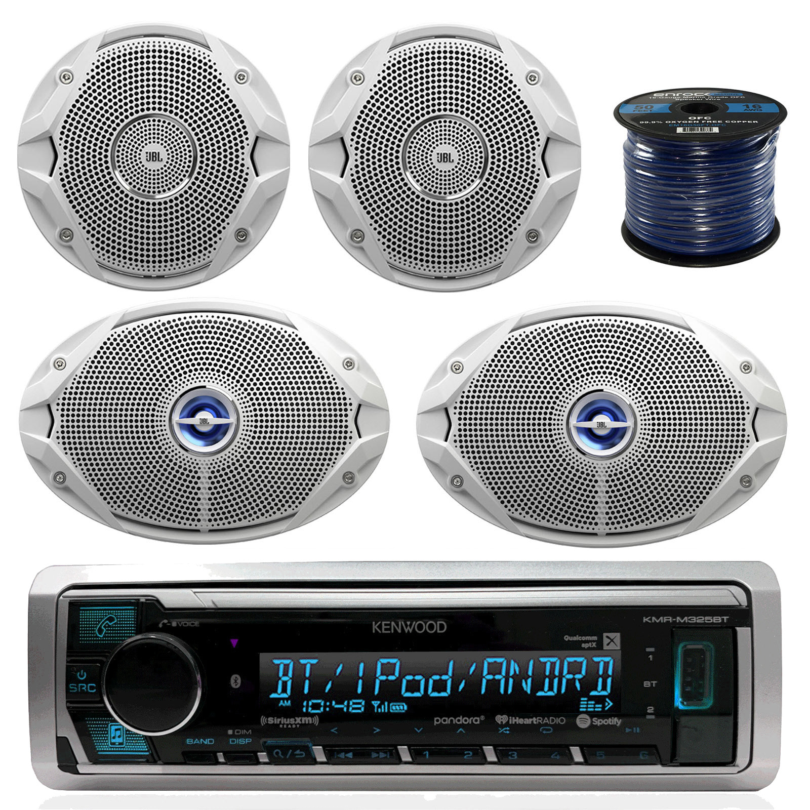 "Kenwood Marine Digital Media Bluetooth Receiver, 2x JBL 6.5"" White Speakers, 2x JBL 6x 9"" 2-Way Marine Speakers (White), Marine 50 FT 16-G Tinned Speaker Wire"