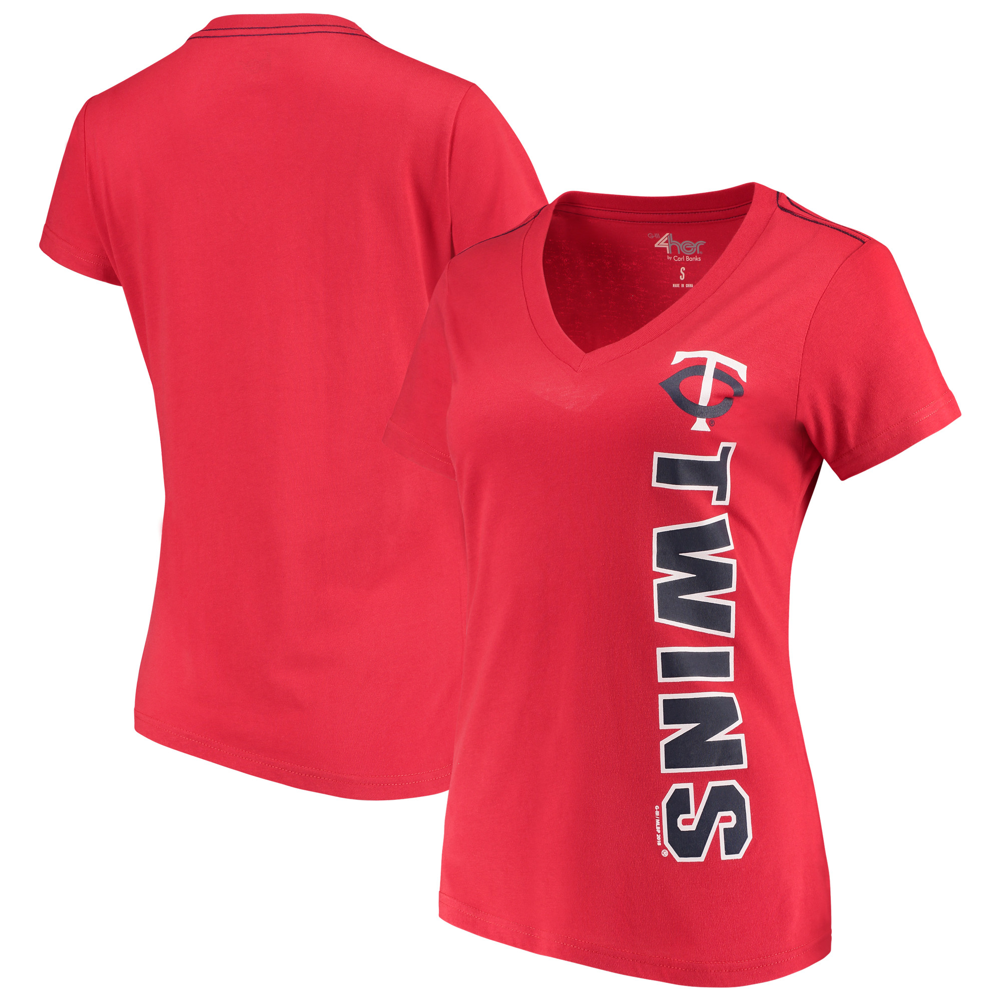 Minnesota Twins G-III 4Her by Carl Banks Women's Asterisk V-Neck T-Shirt - Red