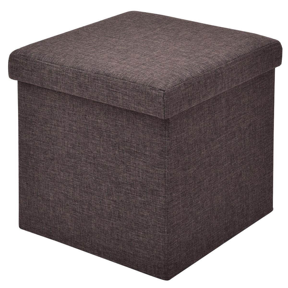 Gymax Folding Storage Square Ottoman Seat Stool Box Footrest Home Furni Decor Brown
