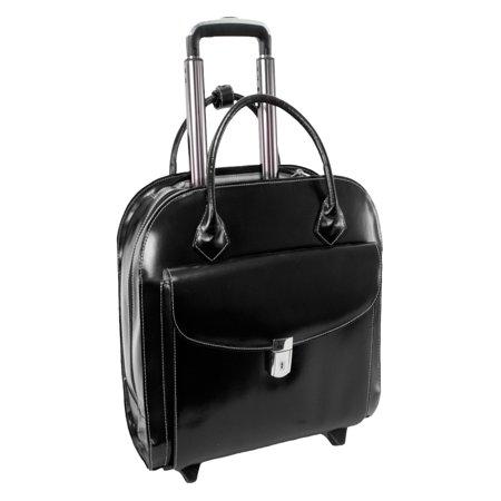 Solo 15.4 Leather Laptop - McKlein USA Granville Wheeled Ladies Laptop Case - Black
