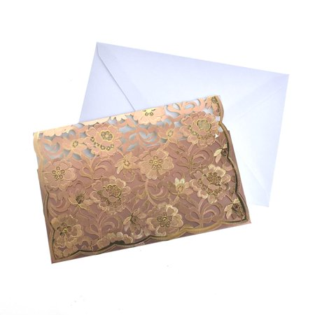 Rectangular Laser Cut Floral Imprint Blank Invitations, 7-1/4 Inch, 8-Piece, Rose (Layer Invitation Cover)