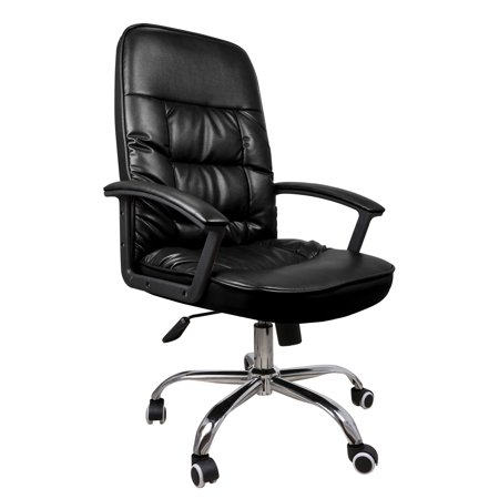Black Professional Vegan Leather Executive High Back Rolling Office Chair with Adjustable Height and Tilt, Arm Rests, and Lumbar Support for Home, Office, Work Use ()
