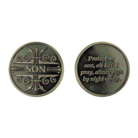 Pocket Token (Silver Tone Protect My Son Prayer Pocket Token Medal, 1 1/4 Inch )